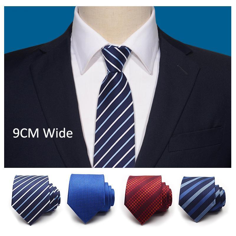 Clásico rayado azul de 9 cm ancho de Boss lazos para los accesorios de moda para hombre de negocios formal salón de Traje Corbata con la CAJA de regalo