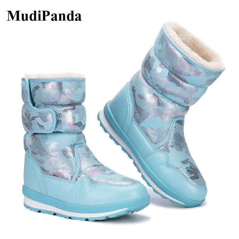 MudiPanda الثلوج في فصل الشتاء الصوف أحذية بنات بنين أطفال الأطفال الأحذية القطيفة الرئيسية القطن جولة المطاط تو الانزلاق على