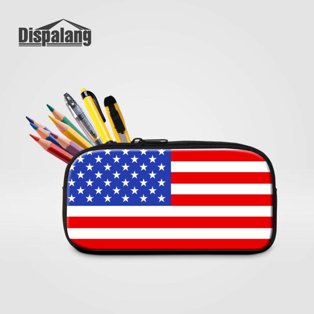 Женская мода Портативный туалетных сумка Флаг США Печать Дети Детский Карандаш сумка Макияж Организатор Офис Школа Stationery