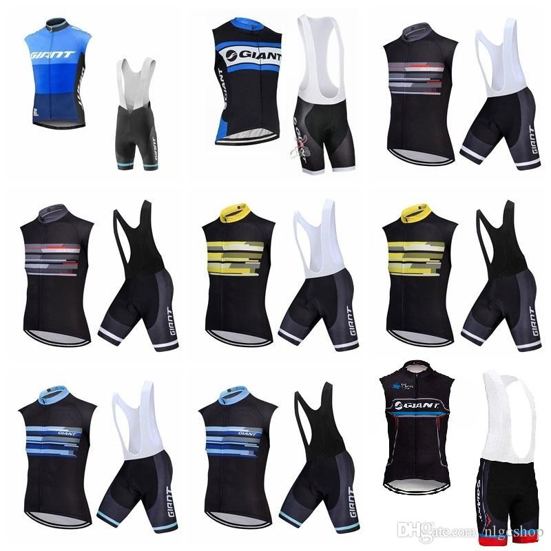 2019 Men summer GIANT Cycling Sleeveless jersey Vest bib shorts sets Quick Dry Cycling Clothes Comfortable Breathable Hot New 304517