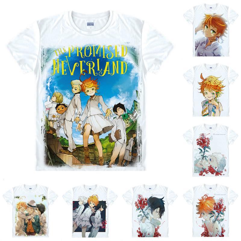 The Promised Neverland Men Fashion Polyester Short Sleeve Shirt Anime T Shirt