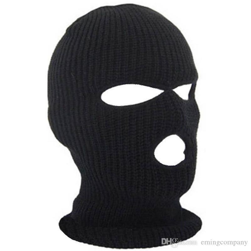 Designer Beanie Passamontagna Hat Per delle donne degli uomini in bicicletta Sci completa Maschera Tre a 3 fori Covering Cappelli Knit Adulti acrilico
