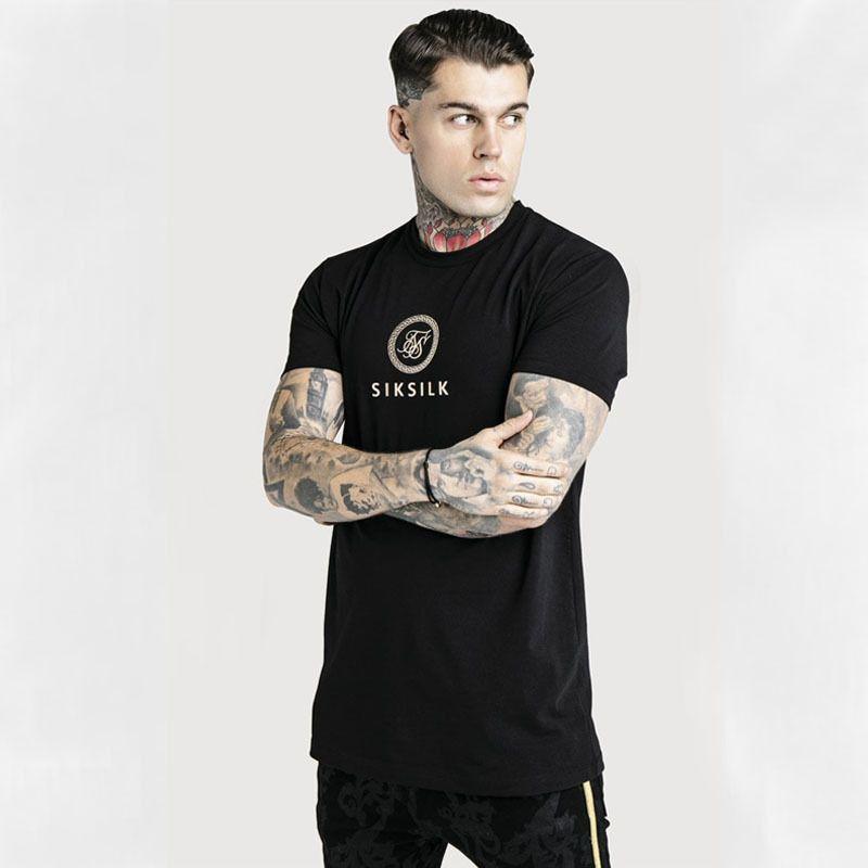 2019 dos homens Sik Silk Imprimir manga Moda Casual Curto T-shirt dos homens de T-shirt Verão New Men Cotton T-shirt MX200611