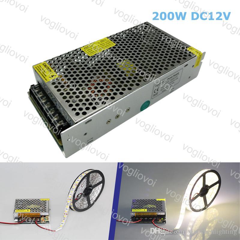 Transformadores de iluminação DC12V 200W Acessórios de prata de alumínio 110V-240V para 3528 5050 Strip Sign In Pixel Module Light DHL