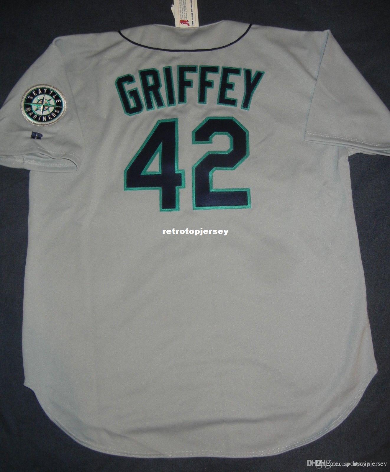 Retro barato Nº 42 de Ken Griffey Jr. Top Russell Athletic SEATTLE Jersey 52 NWT 42 1997 camisola Mens costurado beisebol