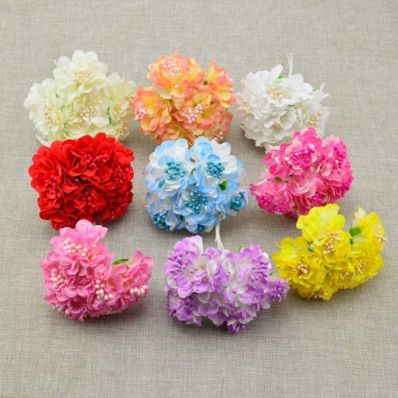 6pcs artificiales decoración de flores del ramo de la boda en casa Estambres DIY novia claveles de seda tocado de la muñeca flor de álbum de recortes