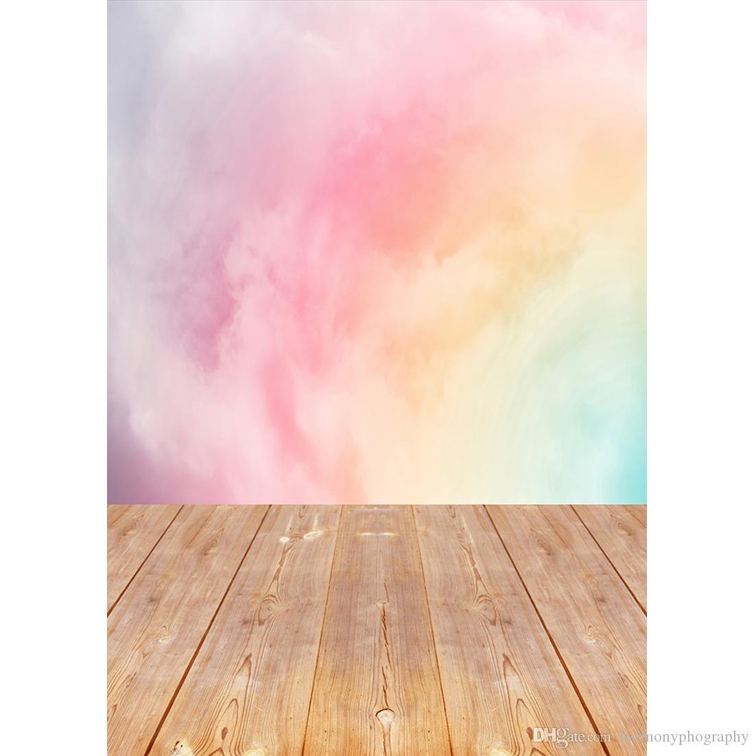 Blush Acquerello Pavimento di legno Sfondo Foto sfondi personalizzati Studio per Bambini Ritratto Fotografia Puntelli Photoshoot