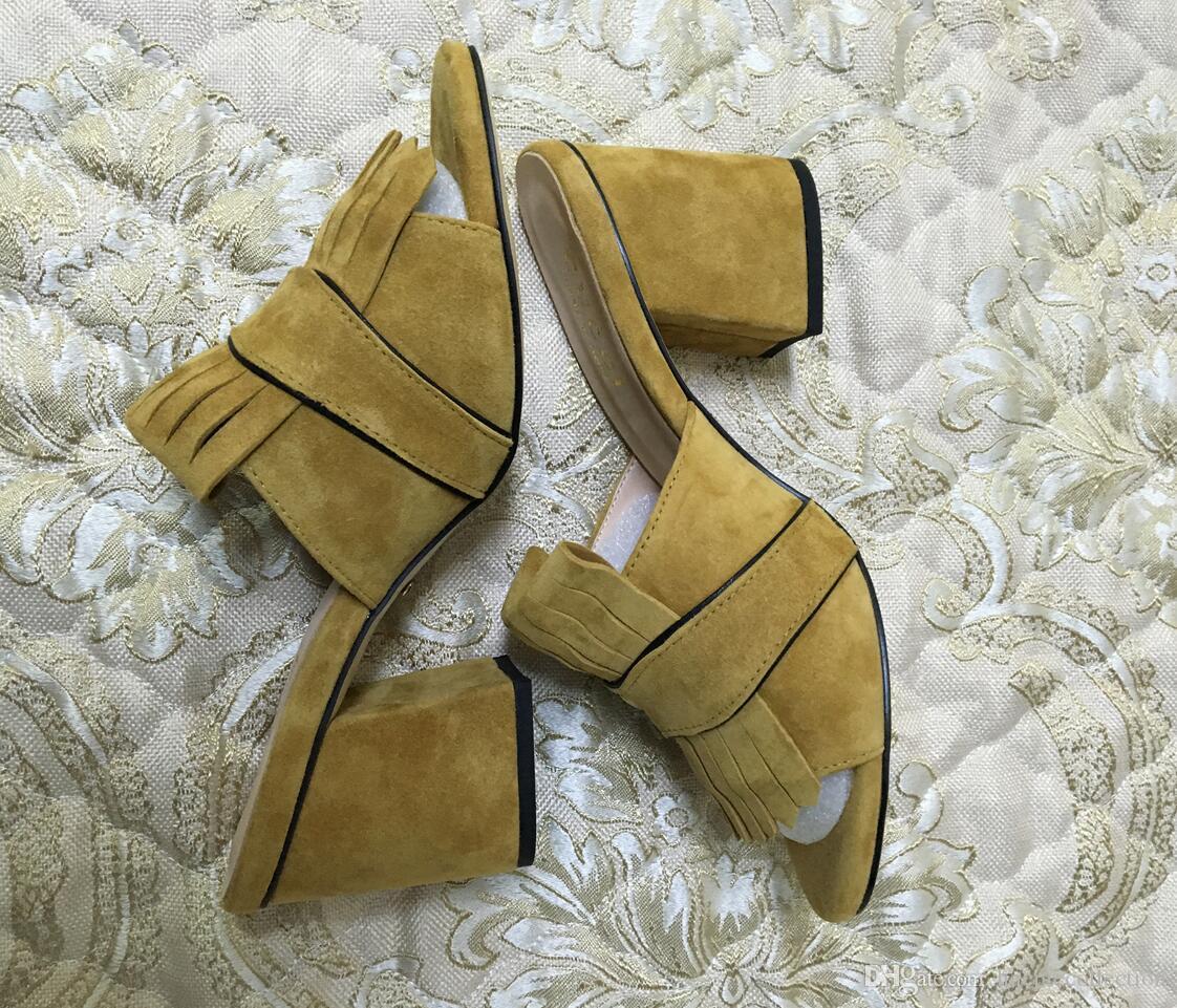 2019 vente chaude dames de mode en daim talons épais sandales bureau dame occasionnelle à bout ouvert chaussures de talon court extérieur doux vert jaune 35-42 # G88