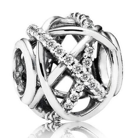 الأصلي المجوهرات 925 فضة الخرزة متألقة غالاكسي المخرم الخرز سحر صالح سوار المرأة قلادة اليدويه