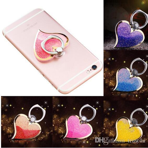 Sıvı Parmak Kavrama Döner 360 Lüks Yüzük Kanca Tutucu Bling Glitter Kalp Evrensel Cep Telefonu iphone 6 7 8 Için Standı