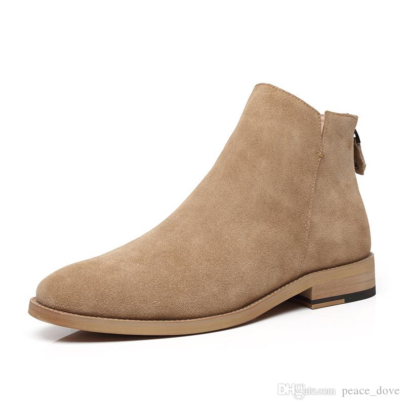 hommes bottes véritables bottines en cuir hommes chaussures chaussures désert bottes + mâle zapatos de hombre de Vestir formelle Botas hombre cuero erkek AYAKKABI