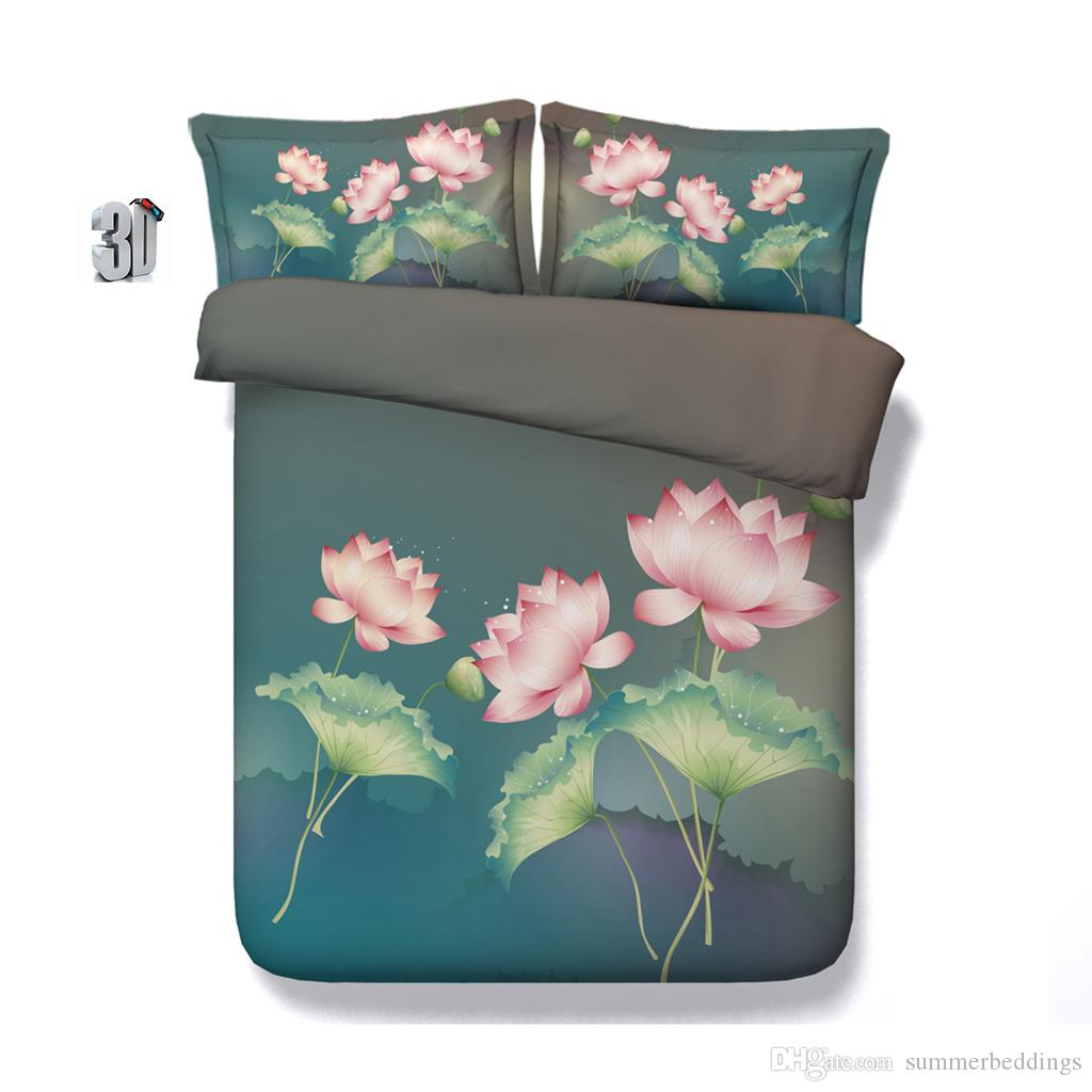 150x200CM 3PCS 3D Galaxy Lotus flower Print Duvet Cover Set Bedding with pillowcase, Microfiber Quilt Cover, Zipper Closure, NO Comforter
