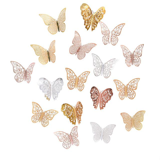Cheap Stickers 12Pcs Rose Gold Silver Hollow 3D Butterfly Wall Stickers For DIY Party Kids Wedding Room Decoration Home Wall Sticker