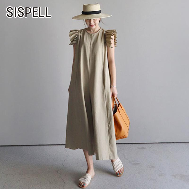 Sispell Summer Womens Jumpsuit Casual Loose Wide Leg Pants Ruffles O Neck Korean Style 2018 New Fashion Y19071701