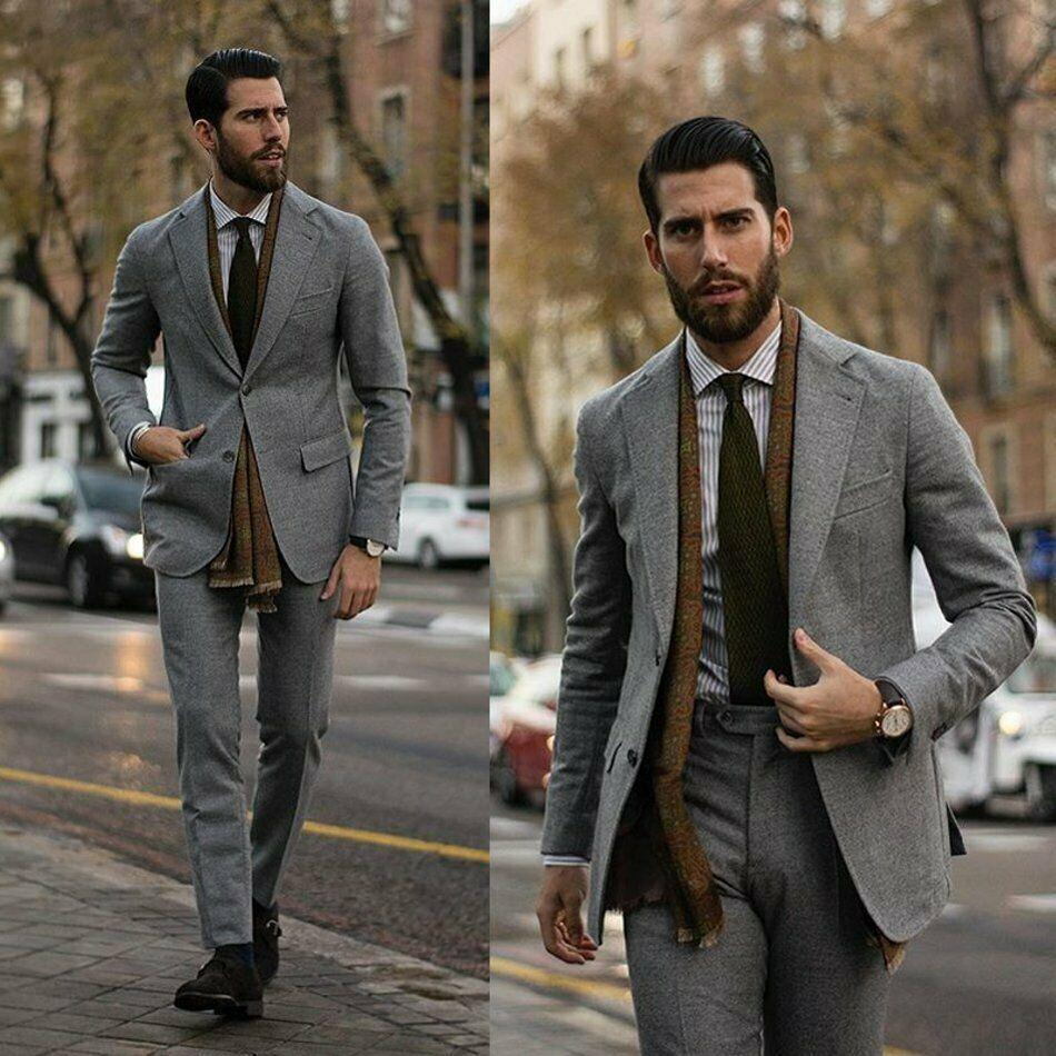 Grey Tweed abiti uomo sposa slim fit a due pulsanti Peaked risvolto sposo indossare smoking formale lavoro Prom Affari Blazer (Jacket Pants)
