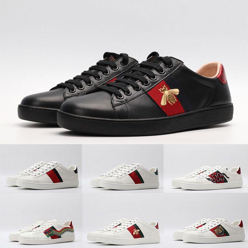 إيطاليا ايس مصمم أحذية رجالية المرأة جلدية فاخرة الثلاثي أسود أبيض أحذية عارضة خمر ستار الشريط الأفعى النحل احذية المدربين منصة