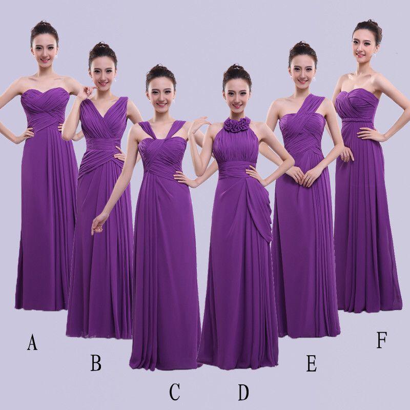 Lila Chiffon Lange Brautjungfernkleider mit Plissee 2020 bodenlangen Hochzeitsgast Kleid 6 Styles Vestido Longo