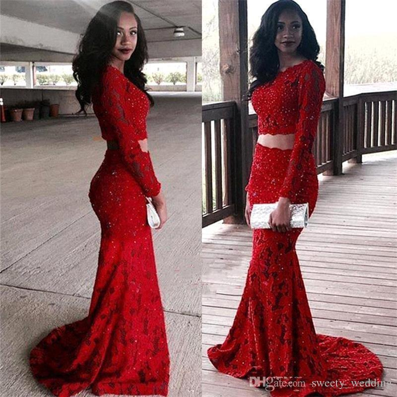 Red Full LaceTwo Pieces Prom Dresses South African Black Girls Vintage Long  Sleeves Beads Plus Size Formal Long Evening Gowns Cute Cheap Prom Dresses  ...