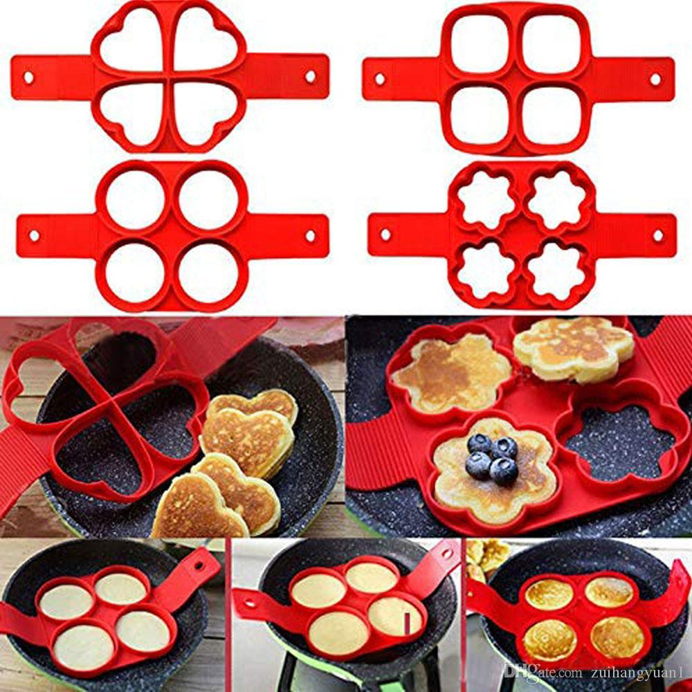 Nonstick Silicone Pancake Mold Maker Fried Egg Ring Mold Shaper Heart Round Flipping Pancake Silicon Mold Omelette Mould