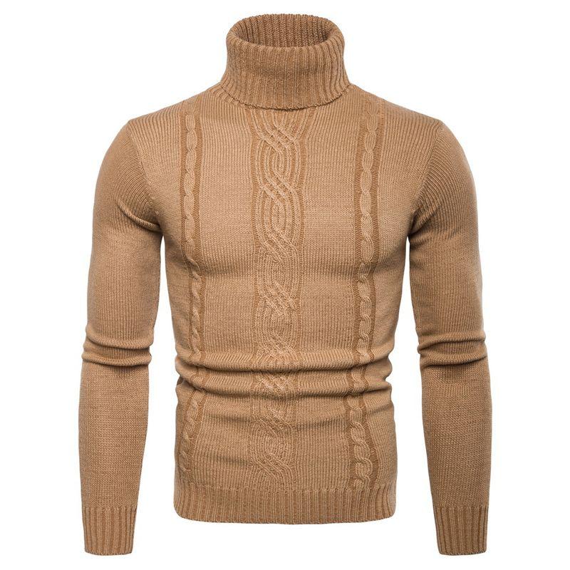 Wool Turtleneck Pullover Sweater Men's Wool Turtle Neck Top Autumn Spring Winter Thick Sweater Light Gray Dark Gray Black Khaki Sweaters