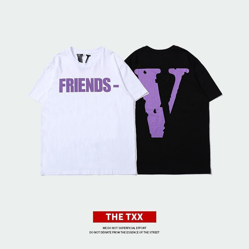 Nueva camiseta Big V Print de algodón para hombre Cuello redondo suelta media manga Moda casual manga corta Ropa de calle