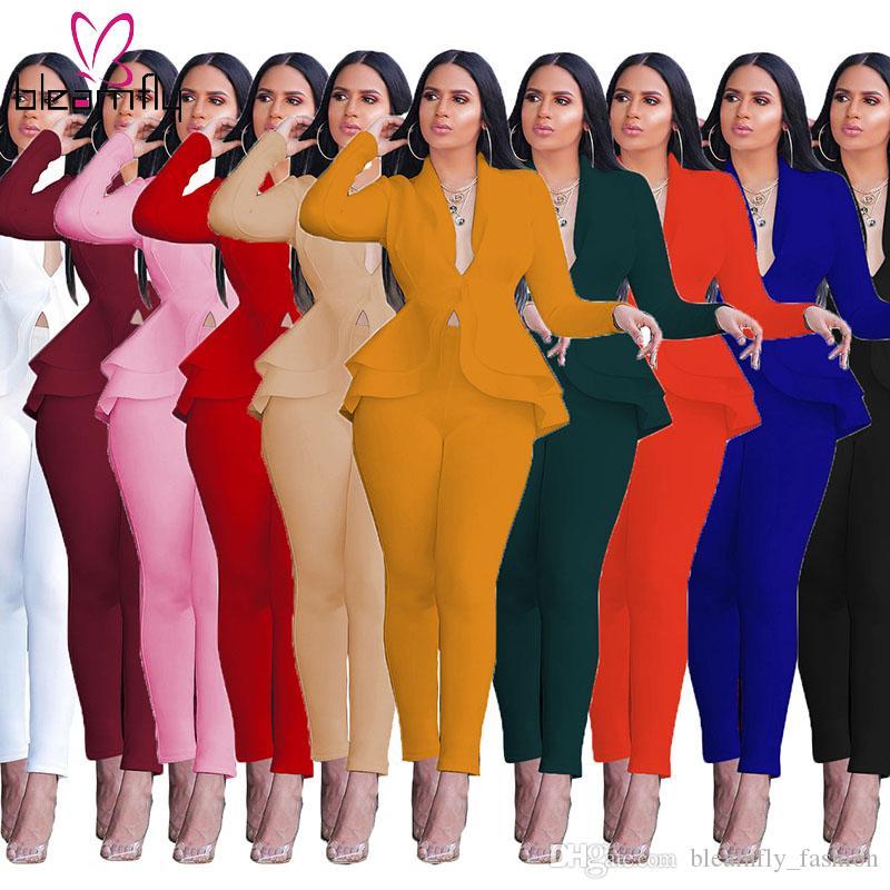 Sonbahar Kış Katı Renk Kadınlar Seti Derin V yaka Uzun Kollu Ruffles Kazak Kalem Pantolon İki Adet Set Şık eşofman Suit