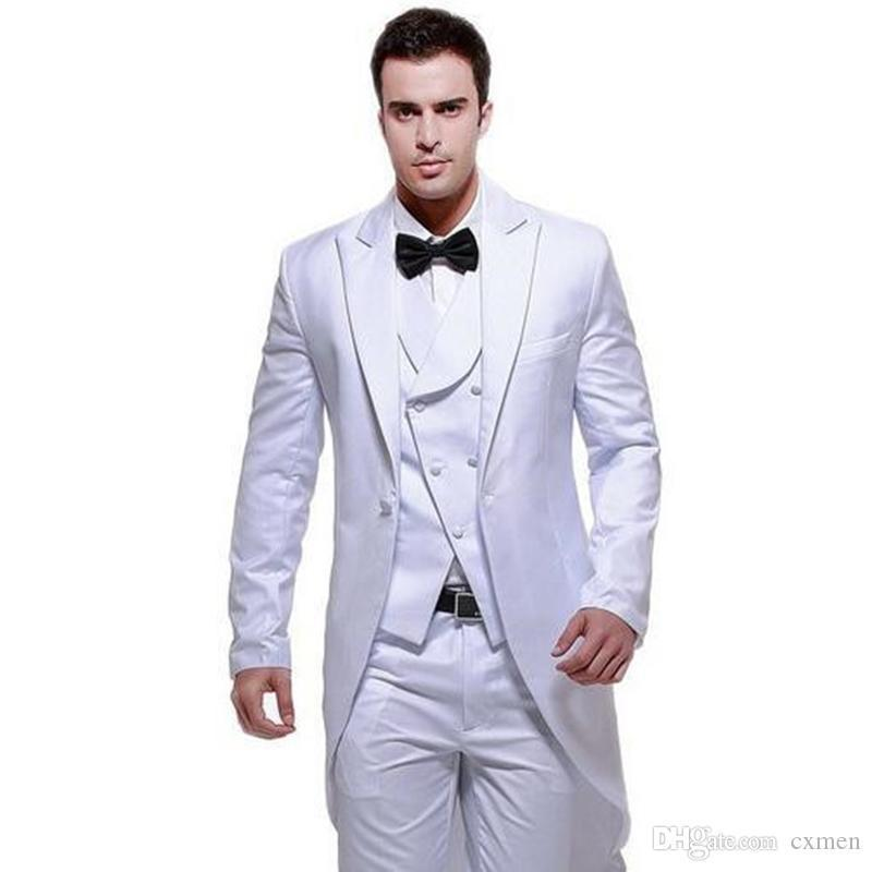 White Tailcoat Men Suits for Wedding 3 Pieces Long Jacket Double Breasted Vest Retro Classic Suits Pants Best Man Blazers Groomsmen Dress