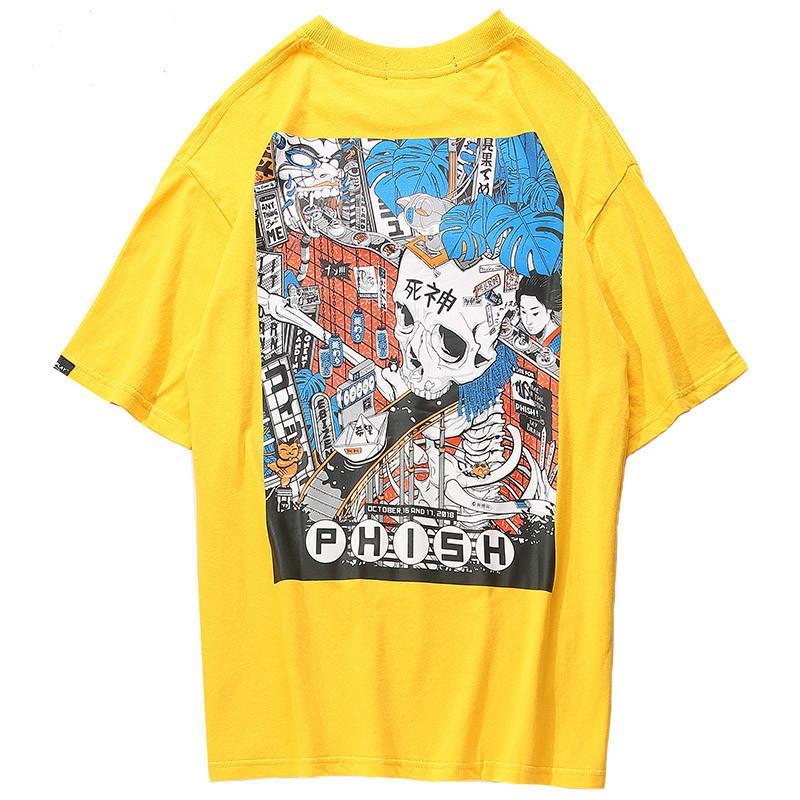 Januarysnow 2019 Men Harajuku maglietta del fumetto Assemblea teschio Line T-shirt stile giapponese Streetwear oversize maglietta estate supera i T Cotton