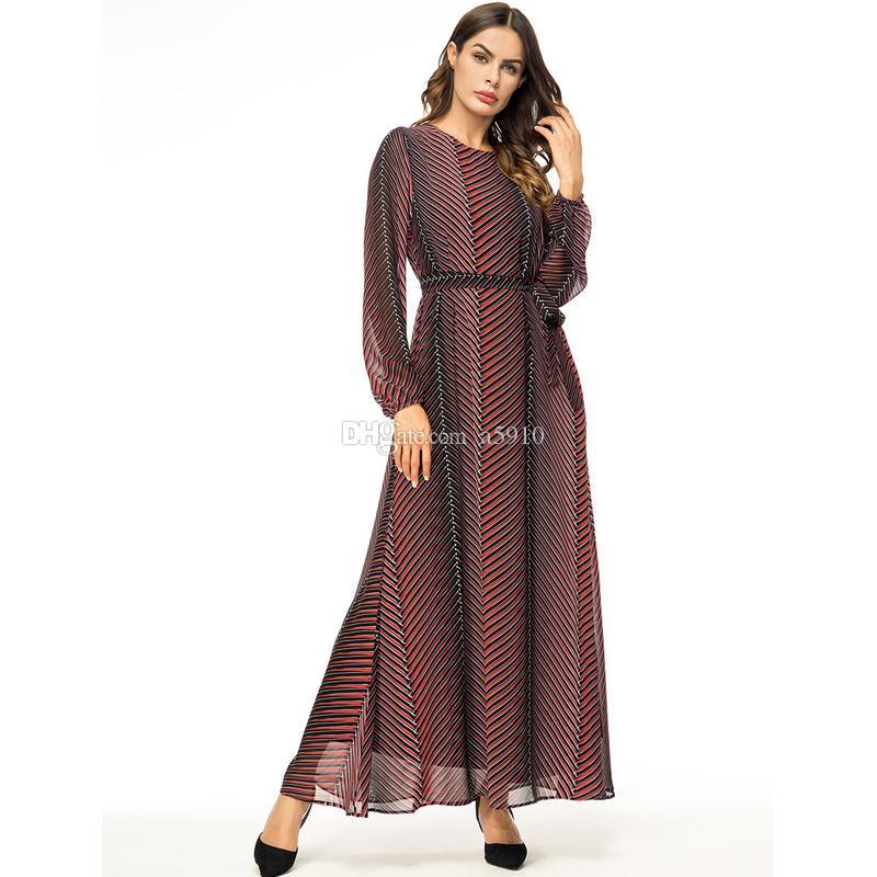 Abaya Vestidos Chiffon Gestreift Türkei Arabisch Muslim Hijab Kleid Katar UAE Dubai Abayas Für Frauen Türkische Islamische Kleidung