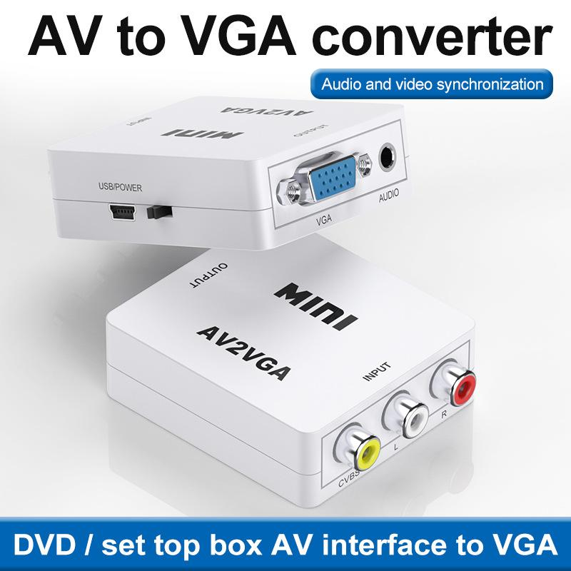 HD RCA CVBS AV To VGA Video Converter Conversor Mini AV2VGA Video Converter Adapter With 3.5mm Audio To PC HDTV Converter