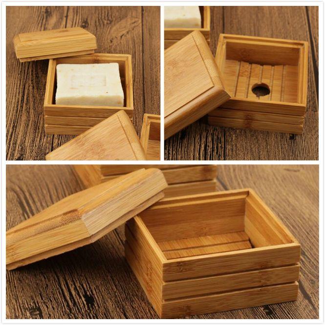 Banyo Duş Plaka Banyo için Ecofriendly Bambu sabunluk Doğal Sabun Tepsi Tutucu Depolama Sabun Raf Plakalı Kutusu Konteyner