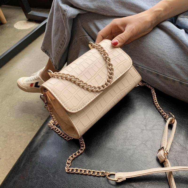 Steinmuster PU-Leder-Süßigkeit-Farben-Kette Nette Crossbody Beutel für Frauen 2020 Sommer-Schulter-Handtaschen Weibliche Handtasche