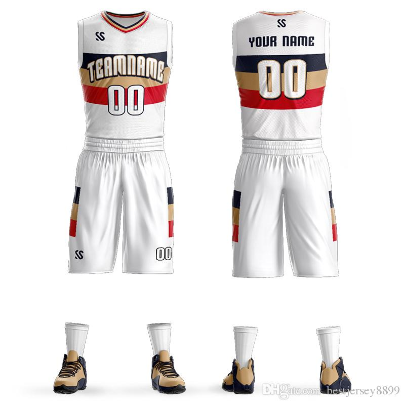 Custom Name + Number Kids & Adult Basketball Jersey Set quick dry DIY Team Basketball Uniform