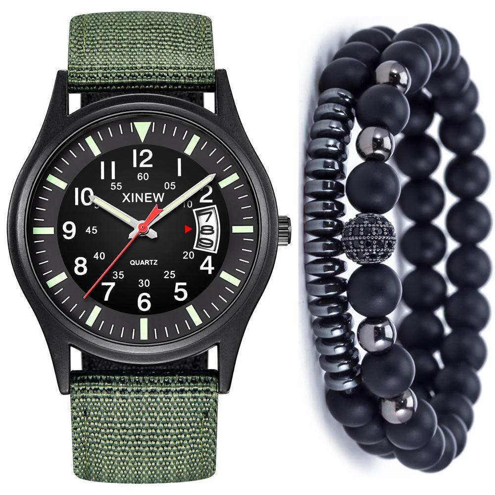 Man Concise Bring Calendar Canvas Quartz Wrist Watch + Bracelet Suit ( 3pcs / Set ) Watch