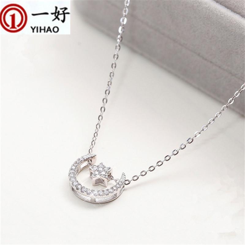 S925 Corea Cadena de Collar de Plata CZ estrella estrella de la luna clavícula simple moda collar corto accesorios