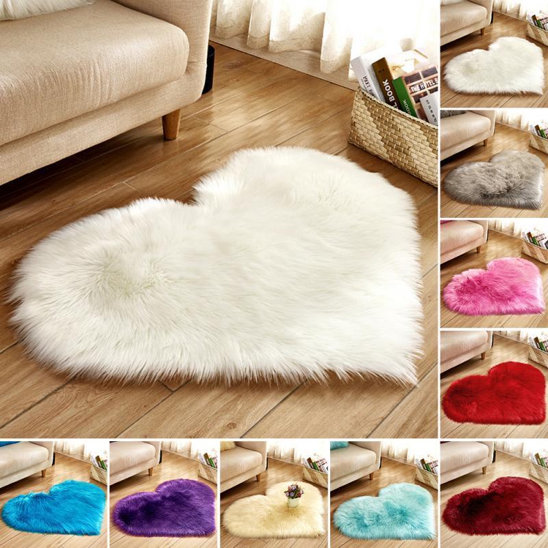 Lovely Sweet Love Heart Shape Carpet Faux Fur Antiskid Doormats Floor Rugs Decor for Bedroom Kitchen Living Room #125