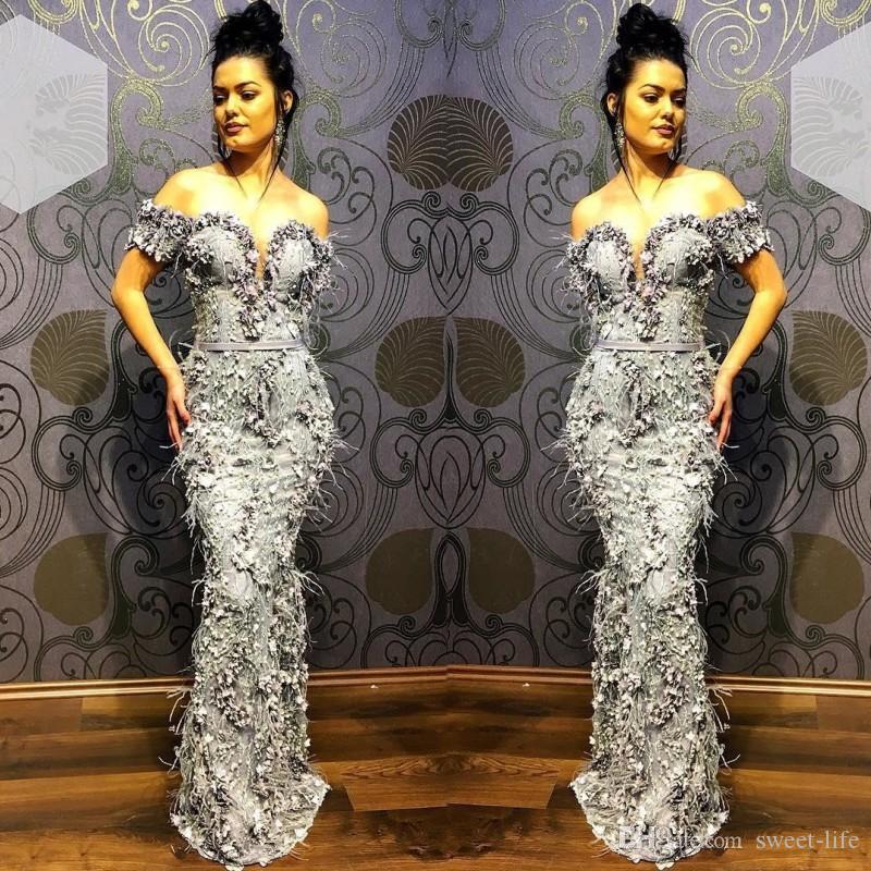 Argento sirena elegante degli abiti di sera 2020 partito convenzionale di usura Prom Dress fuori dalla spalla Abiti da sera Abendkleider robe de soiree