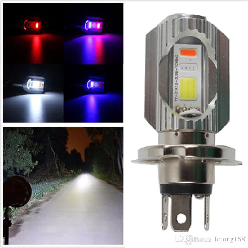 오토바이 12V 3Color H4 COB LED 고 / 저 LED 헤드 라이트 9W H4 싱글 사이드 램프 헤드 라이트 안개등 방수