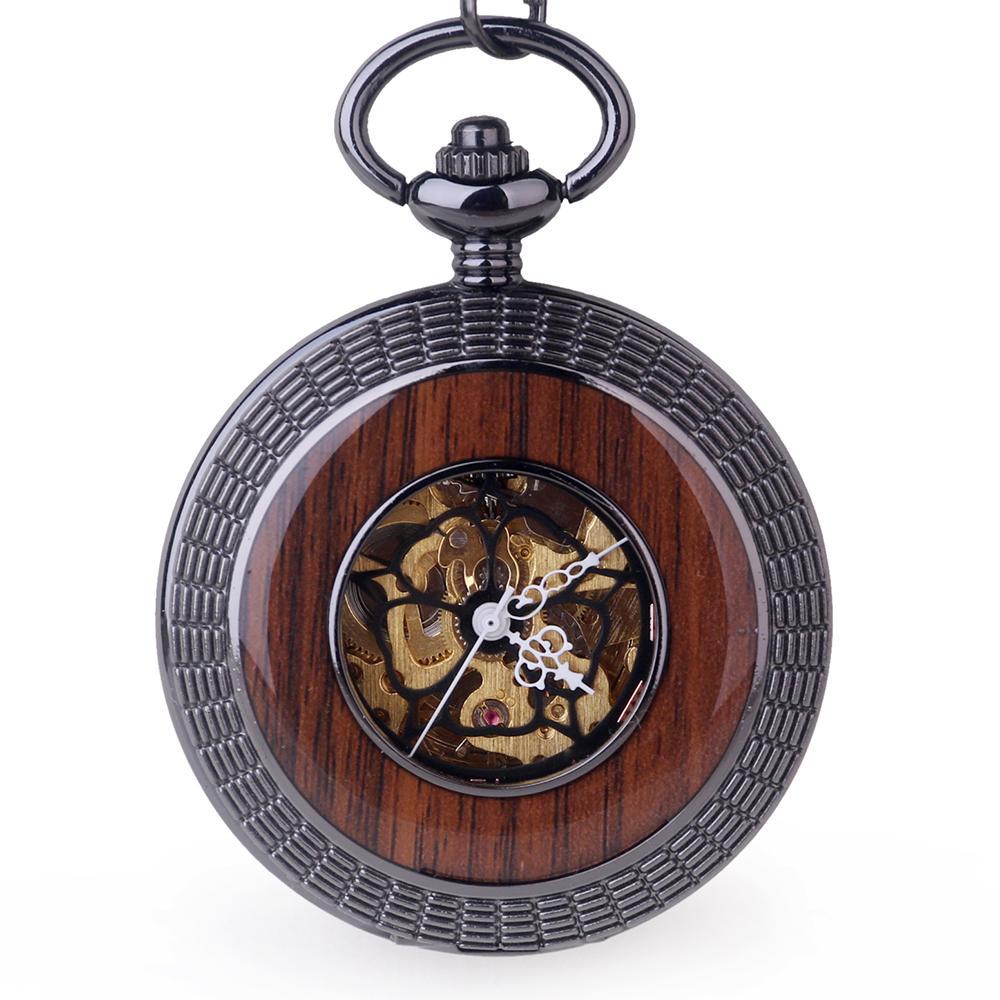 로마 Numerals 디자인 Retro Luxury Skeleton Pocket Watch 시계 체인 Fob 기계식 Steampunk 포켓 시계