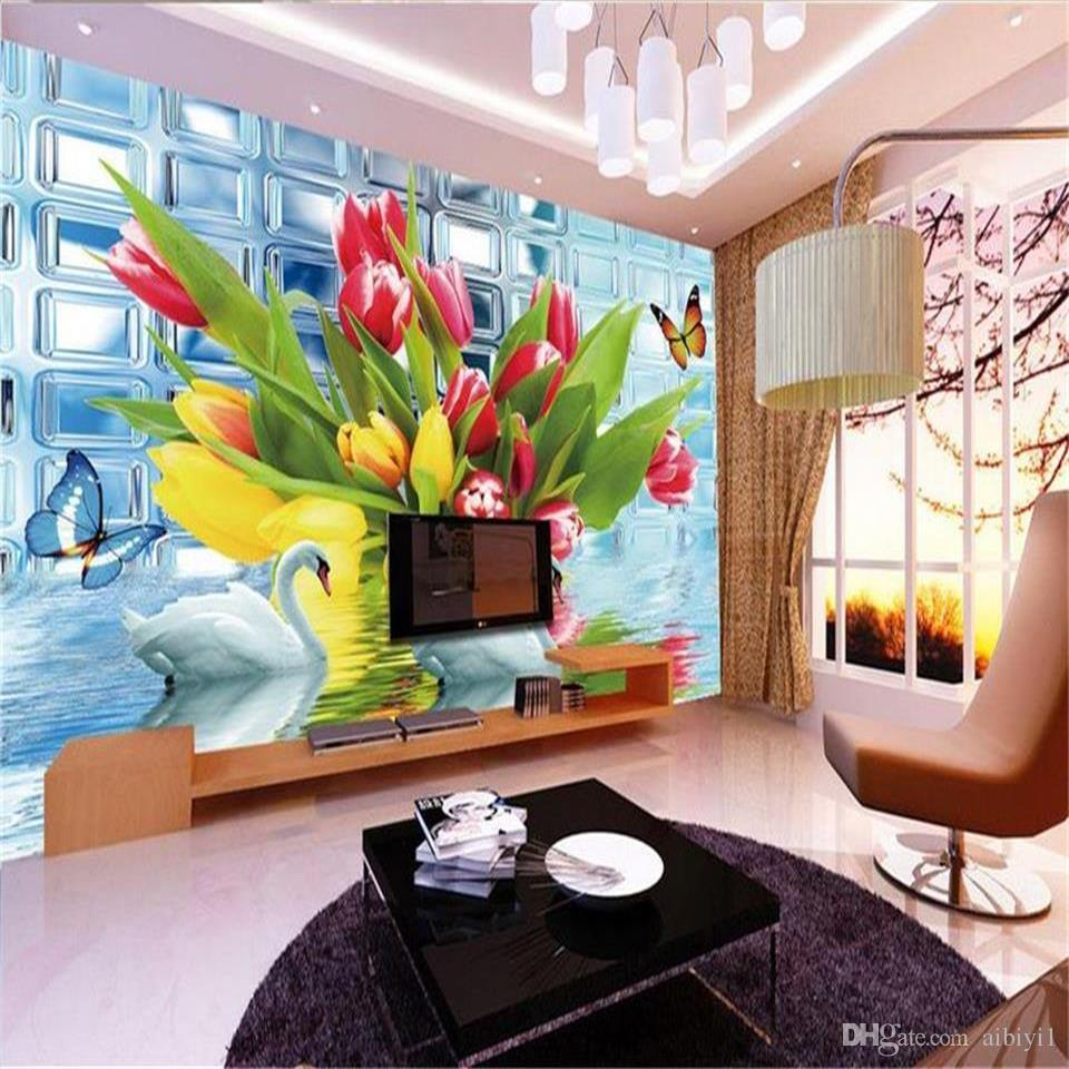 custom size 3d photo wallpaper living room mural glass wall swan tulip flowers 3d picture sofa TV backdrop wallpaper non-woven wall sticker