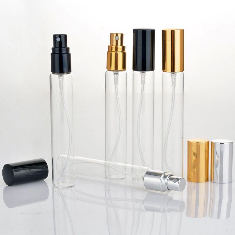 Botellas de muestra de perfume Hot Market Mini 15 ml Botellas de atomizador atomizador de viaje de vidrio con tapa de oro negro plata en promoción