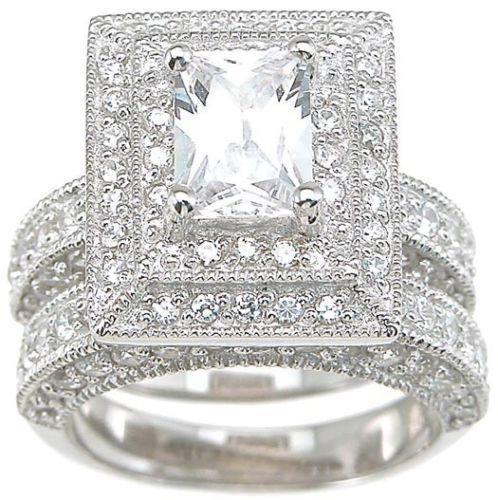Bijoux Vintage gros Professional Topaz Simulé diamant 14 carats en or blanc rempli de mariage 3-en-1 Bague pour le cadeau de Noël Sz 5-11