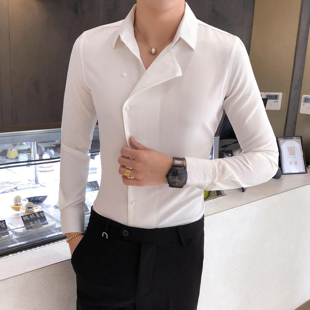 Partielle Schwellen Shirt Männer Mode 2019 Formal Wear Geschäft Mens Dress Shirts Langarm Herren Casual Shirts Slim Fit Tuxedo