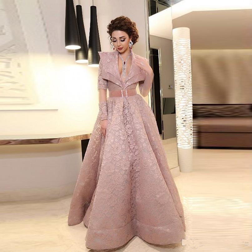 Dubai africano piena del merletto dei vestiti da sera profondo scollo a V illusione maniche lunghe Prom Dress libanese cantante Plus Size vestidos de di intrattenimento partito abiti