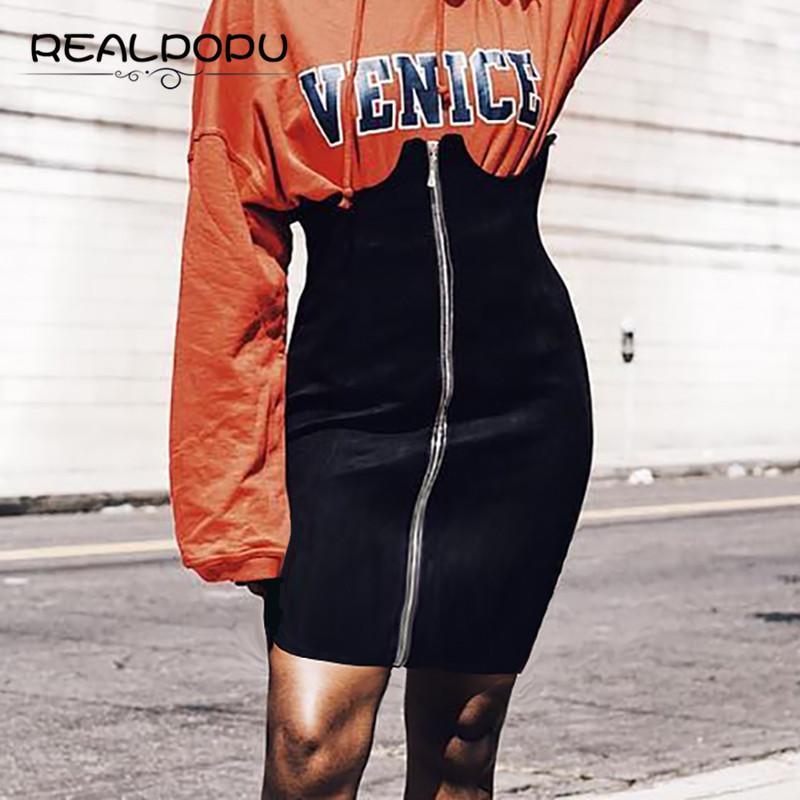 Realpopu 2017 a vita alta matita Summer Party Casual Club Bodycon sexy breve mini gonne delle donne annata Gonna nera Moda Zipper MX200327