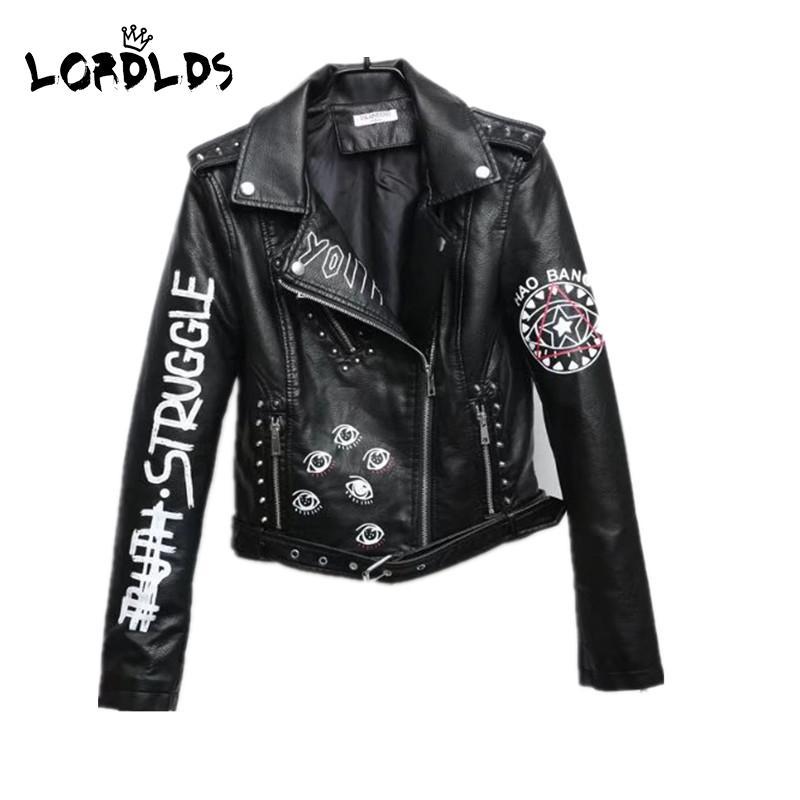 Senhorx mulheres de jaqueta de couro preto graffiti 2019 nova primavera do punk moto casaco cropped faux jaquetas com cinto