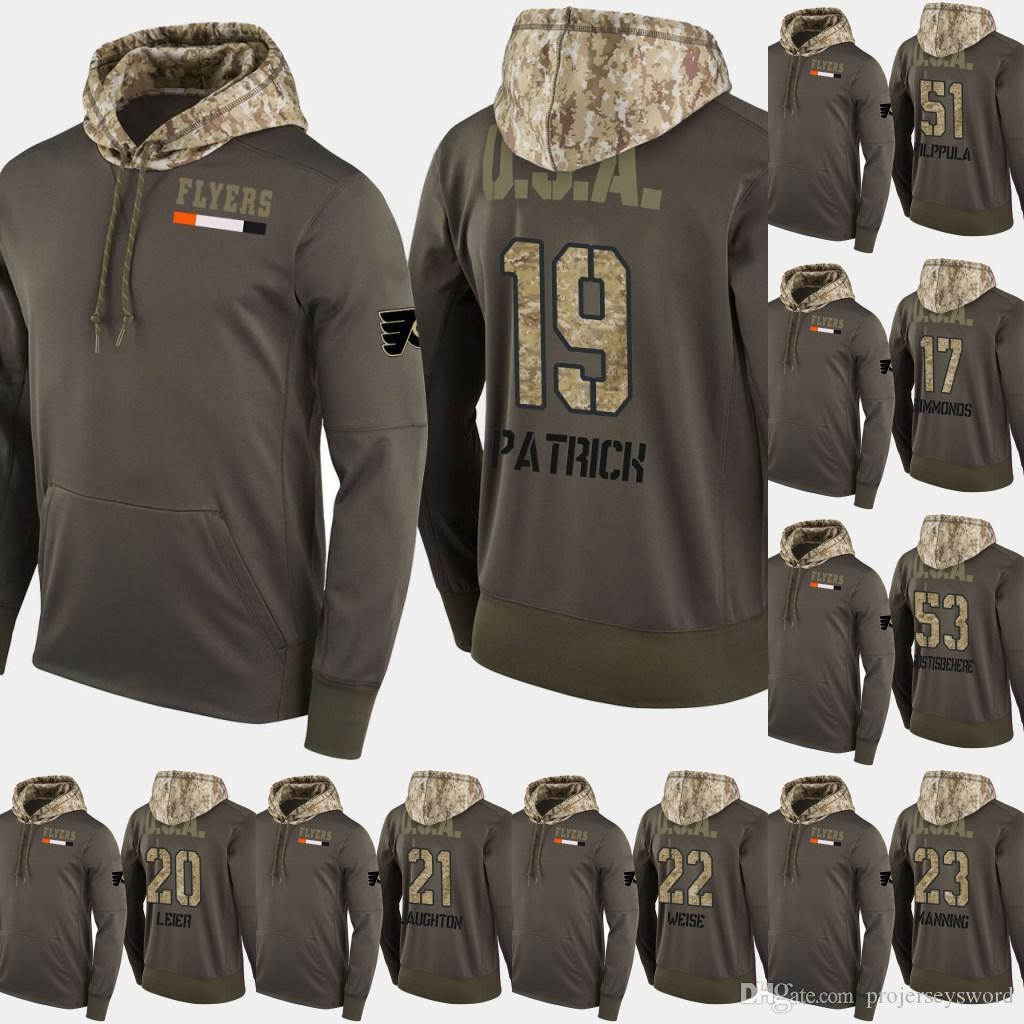필라델피아 전단지 Salute to Service Hoodies 17 Wayne Simmo 22 Dale Weise 53 Shayne Gostisbehere Hockey Sweatershirt Jerseys