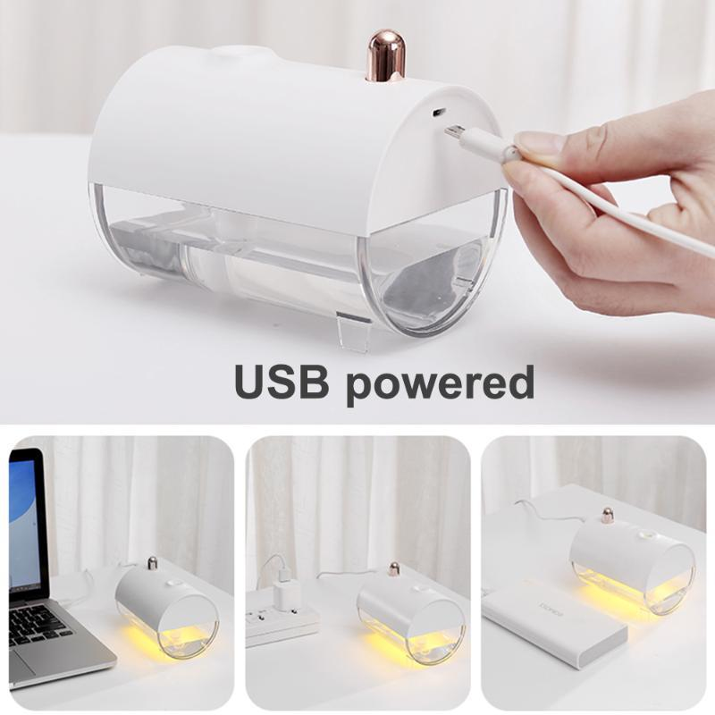 250ML Air Difusor Household Forma portátil projeto Umidificador Com Quente USB de carregamento Submarine Boat White LED Night Light