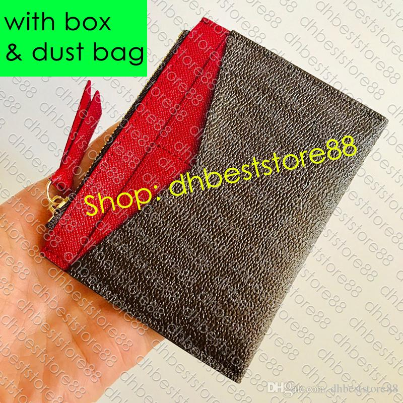 M62257 Zipped CARD HOLDER Дизайнер Женская Сжатые Карты Портмоне Роскошный Ключ бумажника Билл мешок ID Case Mini Pochette Accessoires Clé