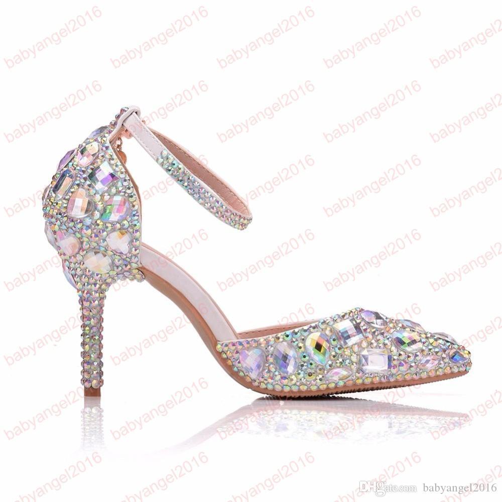 Großhandel Frauen Hochzeit Schuhe Süße Strass Braut Schuhe Prinzessin Wasser Drill Kleid Schuhe High Heels Pumps Kleine Große Von Babyangel2016,